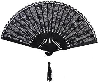PIXNOR FaltbHandfächer de punta de compartimentos de punta de españoles de la época victoriana de la mano del ventilador para boda (colour negro)