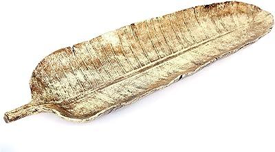 SiL Interiors - Cuenco decorativo (69 cm), diseño de hojas doradas: Amazon.es: Hogar