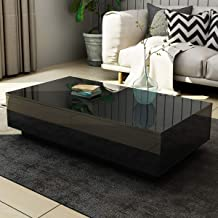 Coffee Table High Gloss 4 Drawers Cabinet Storage Wood Living Room Furniture Black 120CM