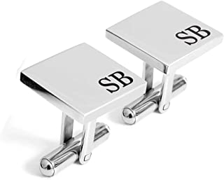 Personalized 925 Sterling Silver Wedding Cufflinks Engraved Custom with Any Initials