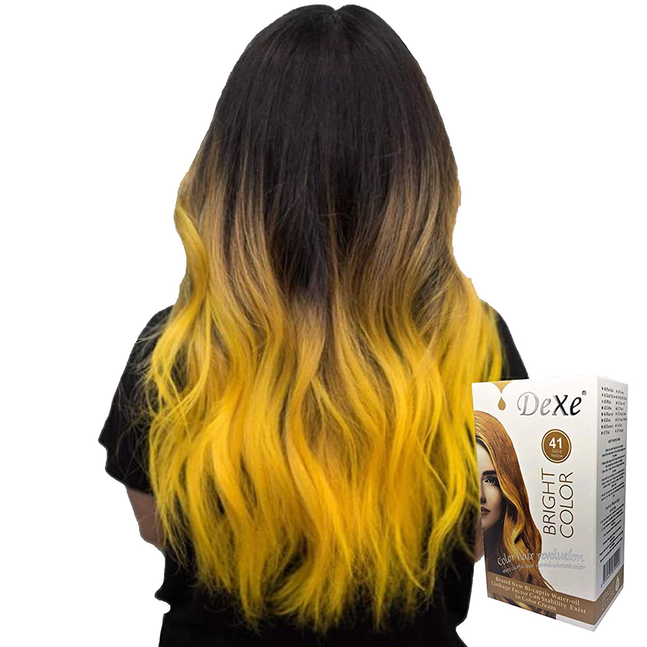 Dexe Bright Color Gold Yellow 180 ml, Revolutionary Hair color cream, Permanent hair color, Hair dye, Highlights, Blond