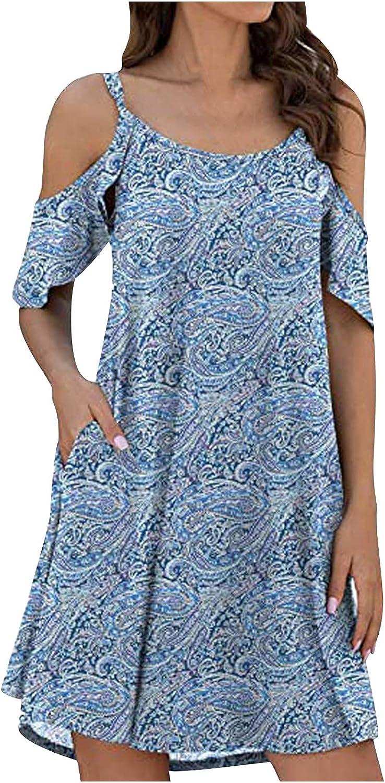 Summer Dresses for Women Beach Floral Tshirt Sundress Cold Shoulder Short Sleeve Pockets Casual Loose Tank Mini Dress