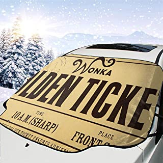 Wonka Golden Ticket Front Car Sunshade Windshield Foldable UV Car Front Window Sunshade Auto Shade for Most Sedans SUV Truck - Auto Car Shade Windshield, Keeps Vehicle Cool