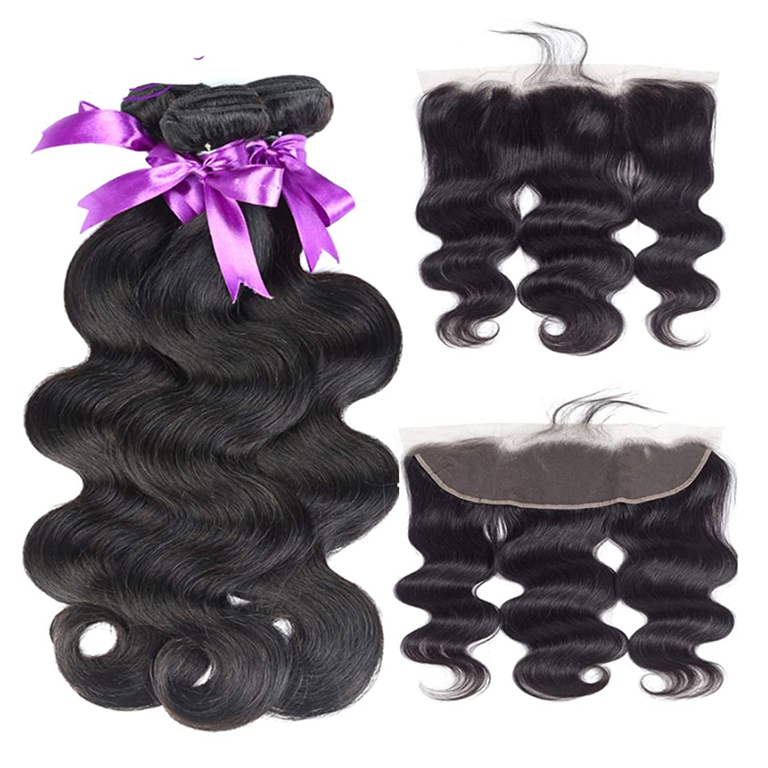 複製火曜日コンソール赤ん坊の毛のremyの人間の毛髪の織り方が付いている13 * 4レースの前部閉鎖が付いているブラジルの実体波3束 かつら (Length : 10 10 10 Cl10)