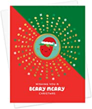 product image for Night Owl Paper Goods Berry Merry Stamped Holiday Card, Box of 8, Gold Foil