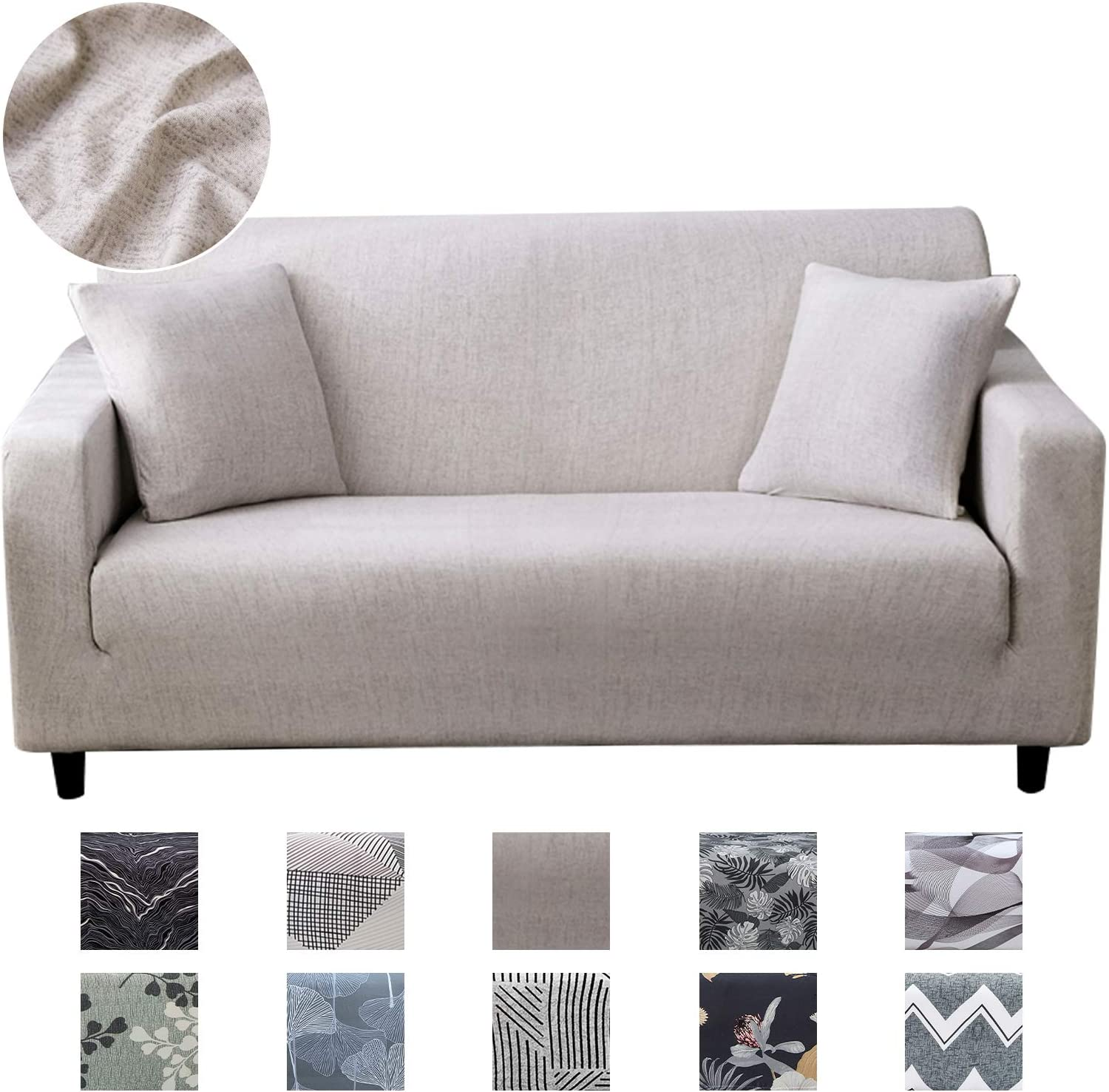 JOYDREAM Stretch 3 Seater Sofa Covers Elastic Sofa Slipcover Printed Couch Cover Universal Couch Slipcovers with 1 Pillowcase, not Solid Color: Kitchen & Dining
