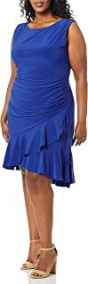 Gabby Skye womens Plus Size Sleeveless Round Neck ITY Rouched A-Line Dress Dress