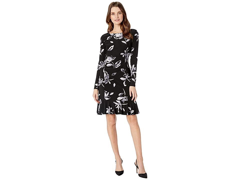 CHAPS Floral Long Sleeve Day Dress (Black/Grey/Multi) Women