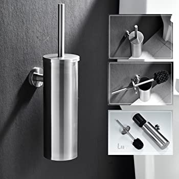 ASDJLK SUS 304 Brosse WC Suspendue Noire Moderne en Acier Inoxydable sans poin/çon,Brosse WC Murale pour Tous Les Types de salles de Bain et Toilettes