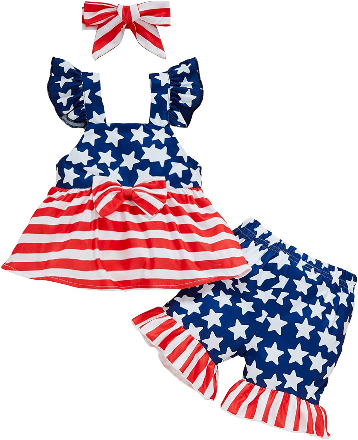 4th of July Toddler Baby Girl Strap Crop Tops American Flag Stri