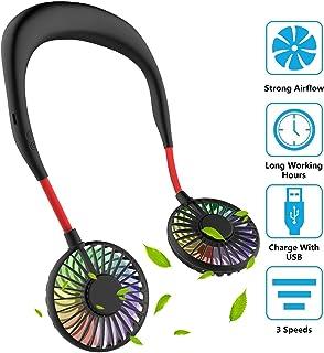 Mini ventilador portátil USB con banda para el cuello, manos libres, flujo de aire de 3 etapas, motor silencioso