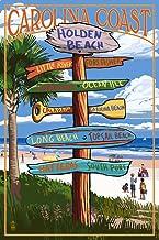 Holden Beach, North Carolina - Destinations Sign (12x18 Art Print, Wall Decor Travel Poster)