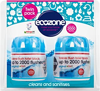 Ecozone Forever Flush 2000 Toilet Block Twin Pack, Blue (Vegan)