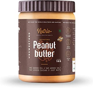 Nutrio Natural Peanut Butter Creamy 1KG (Organic | Unsweetened | Pre Workout Supplements | Weight Loss/Gainer) (1KG)