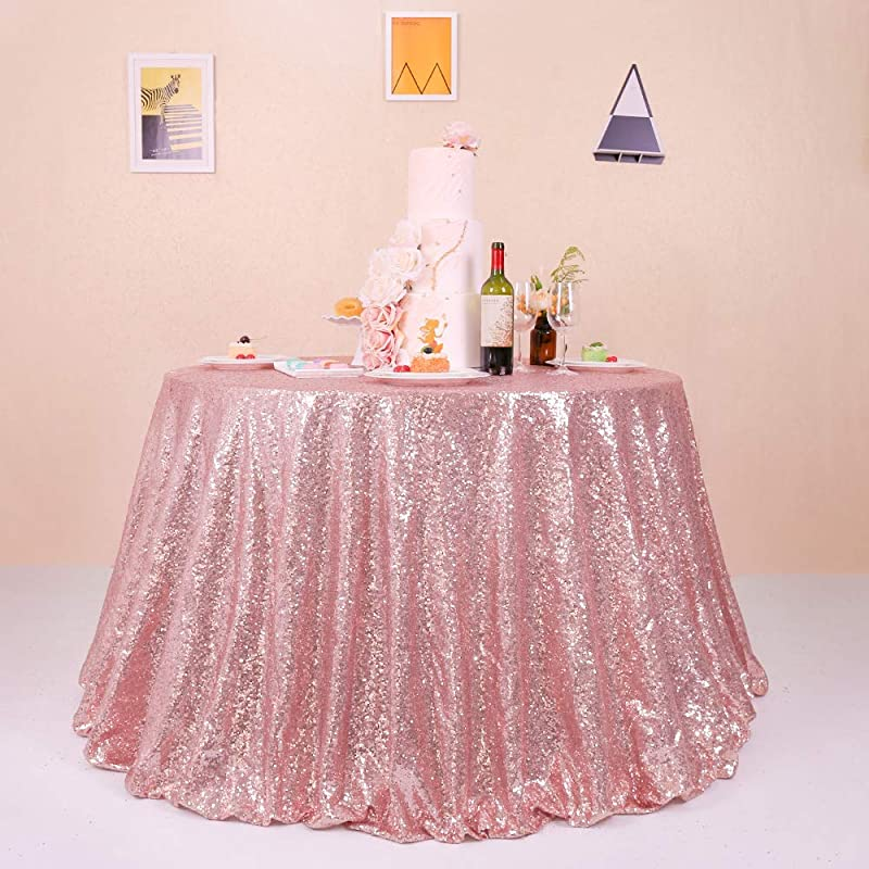 GFCC 108 Rose Gold Sequin Tablecloth Round Sparkly For Party Wedding Banquet Christmas Table Cloth Glitter Cake Table Cover