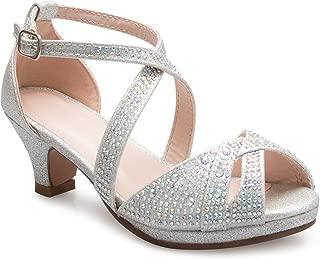 OLIVIA K Girl's Cute Adorable Strappy Glitter Open Toe Heel Sandals - Adjustable Buckle