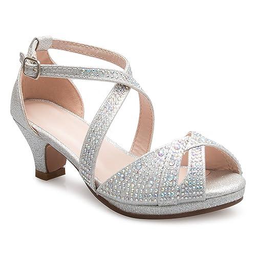 2632fda42d59 OLIVIA K Girl s Cute Adorable Strappy Glitter Open Toe Heel Sandals -  Adjustable Buckle