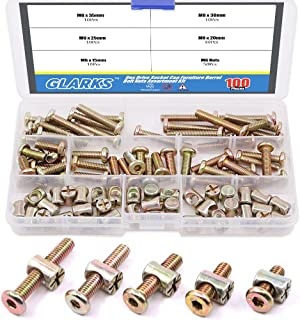 Glarks 100Pcs Zinc Plated M6 Hex Socket Head Cap Screws Bolts and Barrel Nuts Assortment Kit for Furniture Beds Crib Chairs