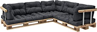 [en.casa] Set de 11 Cojines para sofá-palé - Cojines de Asiento + Cojines de Respaldo Acolchados [Gris Oscuro] para europalé In/Outdoor