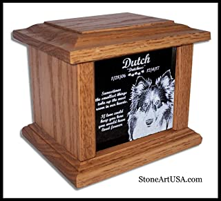 StoneArtUSA Pet Cremation Memorial Urn by Eric Small Light Oak Wood & Granite for Pets up to 48 lbs. / Custom Personalized Engraved Laser Etched Photo Marker Dog Cat Pet Ashes