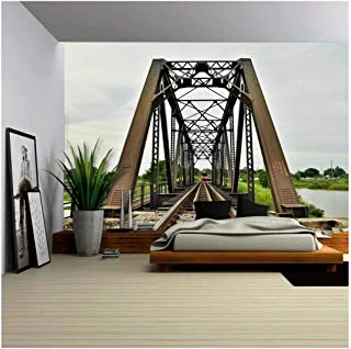 wall26 - a Train Crossing The Bridge,Thailand - Removable Wall Mural   Self-Adhesive Large Wallpaper - 66x96 inches