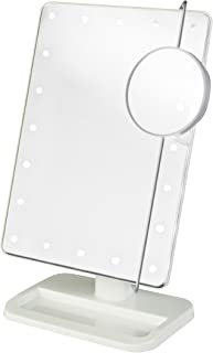 Jerdon JS811W 8-Inch Portable LED Lighted Adjustable Tabletop Makeup Mirror with 10x Magnification Spot Mirror, White Finish
