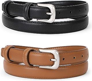 Women Leather Belt Waist Skinny Dress Belts Solid Pin Buckle Belt for Jeans Pants