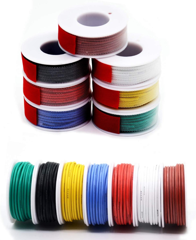 0.52mm² Cable eléctrico de silicona de 20awg 7 colores Cable de cobre estañado trenzado sin oxígeno Resistencia a altas temperaturas