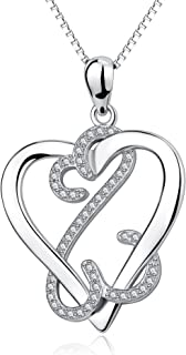 YFN 925 Sterling Silver Infinite Eternal Love Heart Pendant Necklace Charms 18