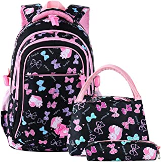 School Bags Backpack Kids Girls Children Student Book Bags Set for School Teenage Girls Kids Zhaozb (Color : Black)