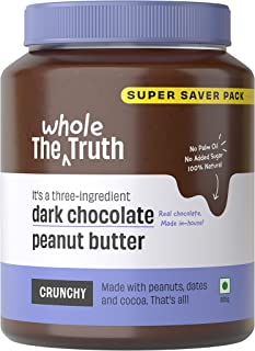 The Whole Truth - SUPERSAVER No Added Sugar Dark Chocolate Peanut Butter - 925g - Crunchy - Gluten Free - Vegan