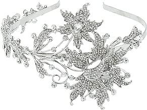 EVER FAITH Wedding Leaf 2 Flower Headband Clear Austrian Crystal Silver-Tone