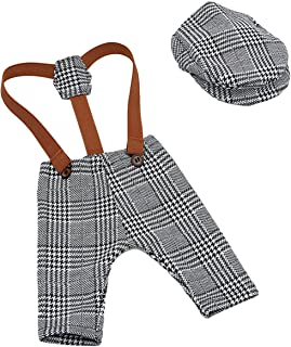 YeahiBaby Newborn Baby Photography Props Cute Plaid Suspender Pants and Peaked Cap Set Costume Outfits for Girls Boys (Grey)