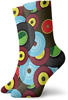 Luxury Calcetines de Deporte Vinyl The DJ Pattern Unisex Socks, All-Season Lightweight Ankle Socks Crew Socks