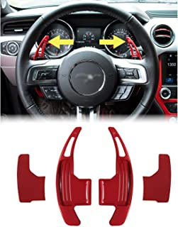 Steering Wheel Shift Paddle Extended Shifter Trim Cover for Ford Mustang 2015~2020 Interior Decoration Accessories Aluminum Alloy (Red)
