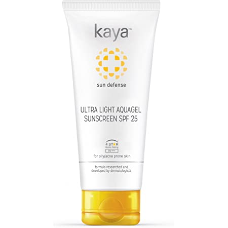 Buy Kaya Skin Clinic SPF 25 Ultra Light Aquagel Sunscreen, fragrance free, does not clogs pores, PA++++, 4 Star Boots Rating, for oily, acne prone skin, 50ml Online at Low Prices in