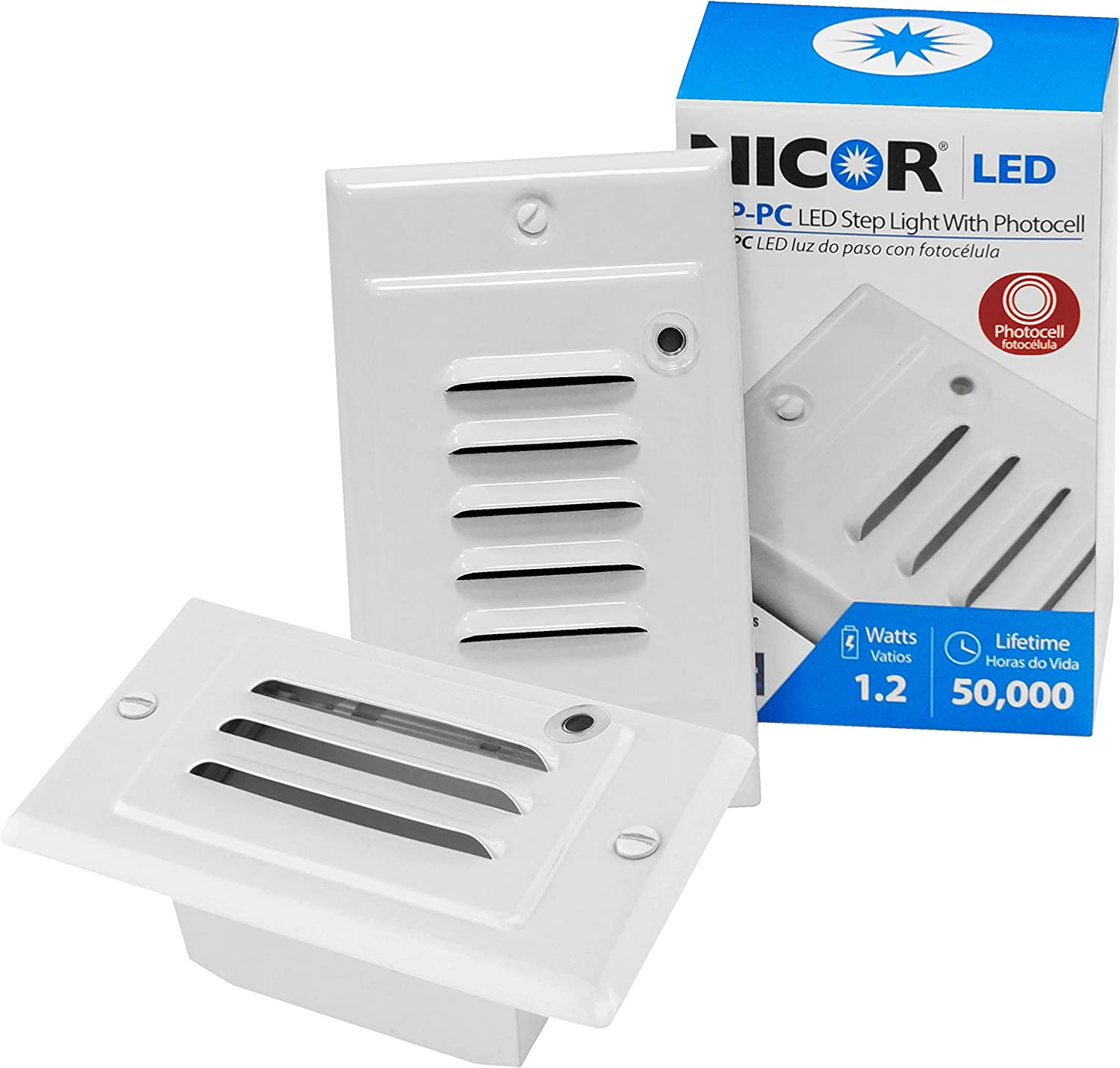 NICOR Genuine Lighting LED Step Light in Photocell with White STP-10-12 Max 64% OFF