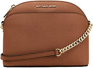 Michael Kors Women's Jet Set Travel Dome Saffiano Leather Crossbody Bag - Brown Luggage