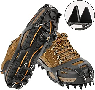 Cosyzone Traction Cleats Micro Ice Spikes for Shoe/Boots Safe for Walking, Jogging, Climbing and Hiking-Orange