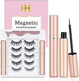 Magnetic Eyelashes with Eyeliner, B-COMB Magnetic Eyelashes and Eyeliner Kit, 5 Pairs Upgraded Reusable Magnetic Lashes Na...
