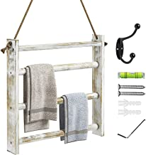 Greenstell Rustic Wood Wall-Hanging Hand Towel Rack for Bathroom, Kitchen Decorative Farmhouse Storage Ladder Towel Rack w...