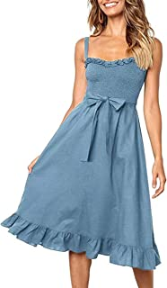 Women's Dresses - Summer Boho Floral Spaghetti Strap Button Down Belt Swing A line Midi Dress with Pockets
