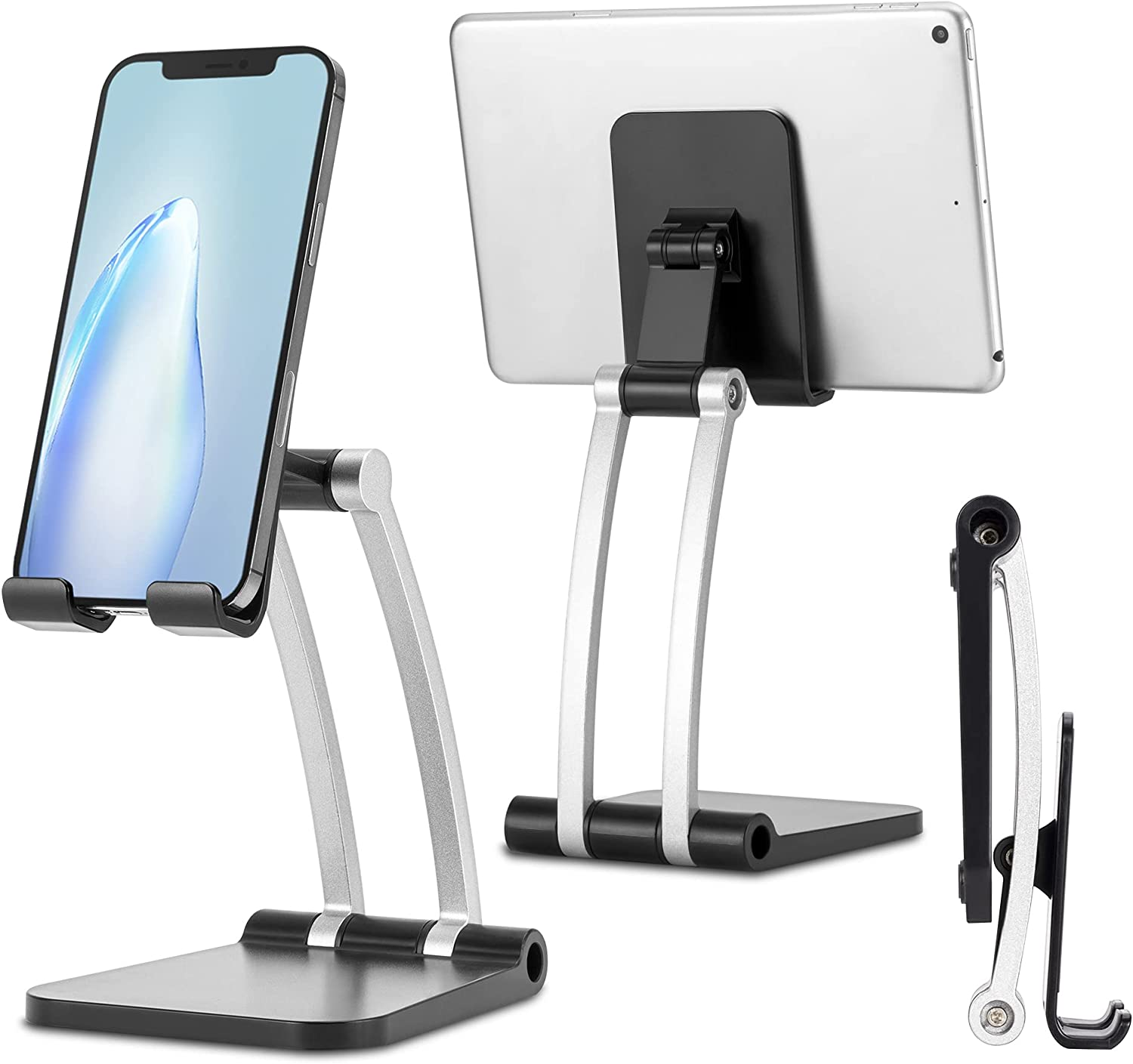 Cell Phone Stand for Desk Adjustable, Foldable Desktop Holder for Tablet/Kindle/Switch, Universal Phone and Tablet Stand Holder Compatible with iPhone, iPad, Samsung Galaxy, Surface Pro
