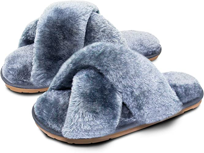 Women's Furry Fluffy House Slippers with Cross Band Open Toe, Soft Comfy Warm and Breathable Anti-Slip Memory Foam Slippers for Women Make You Fancy and Comfortable for Indoor Leopard