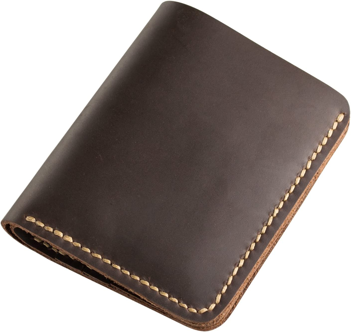 Ancicraft Wallets For Men Leather Bifold Handmade Vintage Dark Brown Stitch by Hand Gift for Him