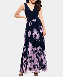 X BY ESCAPE Petite Floral-Print Illusion-Cutout Gown for Women
