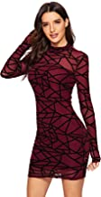 ROMWE Women's See Through Mesh Long Sleeve Stretch 2 in 1 Bodycon Dress