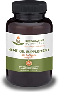Hemp Oil Supplement Softgels - 15mg - 30 Count - Restorative Botanicals - Naturally Occuring Phytocompounds - Supports Health Sleep Patterns