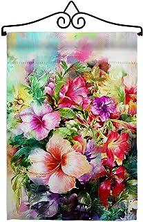 Breeze Decor Bright Hibiscus Garden Flag Set Wall Hanger Spring Floral Sunflower Tulip Rose Orchid Lilies Season Springtim...
