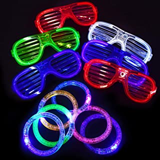 Max Fun Led Light Up Toys - 6 Led Plastic Shutter Shades Glasses and 6 Led Flashing Glow Bracelets Glow in The Dark Halloween Rave Party Supplies Favor Accessories for Kid Adult Birthday Holiday Gift